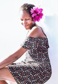 women with big flower in he head portrait photography