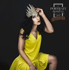 women in yellow dress and gold crown portrait photoshoot