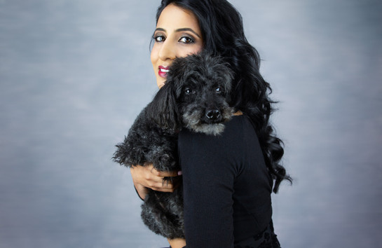 Pet photography with Ami and dog Tiger who is  Poodle breed at Vilija Skubute studio