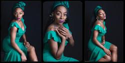 portrait photography of women with green dress taken at Vilija Skubute photo studio