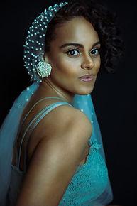 women in a pearl head scarf portrait photography