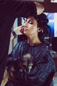 Hair and makeuo before Pet photography photoshoot at Vilija Skubute studio