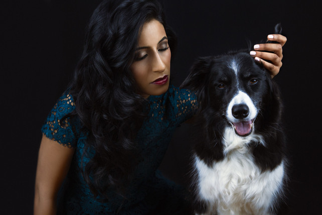 Pet photography with Ami and dog Ecko who is Collie breed at Vilija Skubute studio