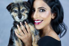 Pet photography with Ami and dog Kiri who is Yorkiepoo breed at Vilija Skubute studio