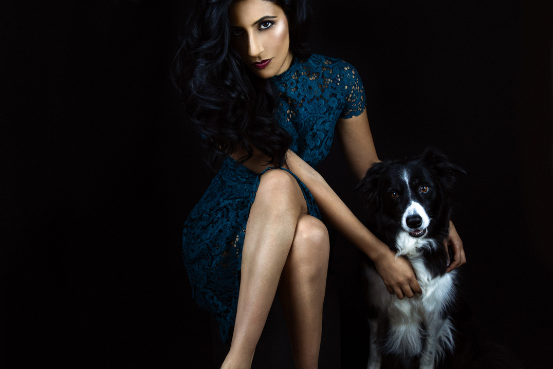 Pet photography with Ami and dog Ecko who is Collie breed