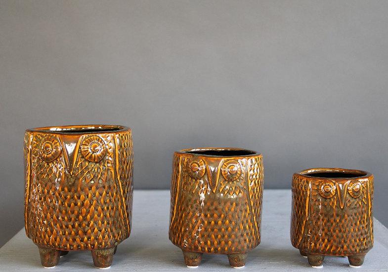 The Owl Family- trio of ceramic pots