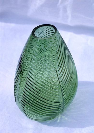 Green Leaf Impression Glass Vase