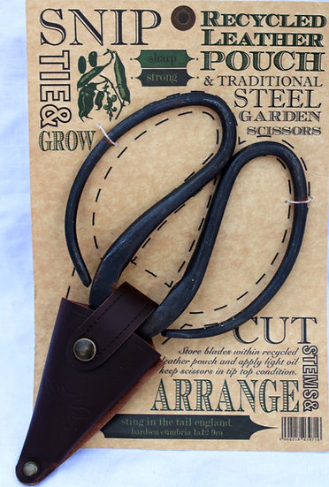 Large Gardening Scissors in Recycled Leather Pouch