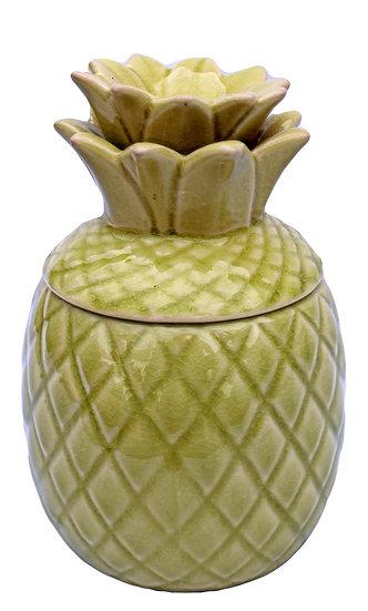 Green Ceramic Pineapple Storage Jar With Lid
