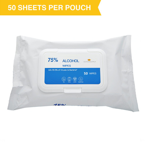 CertainSupply Alcohol Wipes (Pouch)