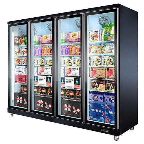4 glass doors display freezer