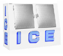2500L 290bags Capacity Ice Box With Slanted Solid Doors