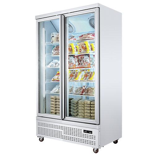 Fan cooling display freezer