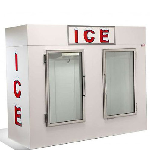 Two Glass Doors Ice Bags Storage Bin Freezer
