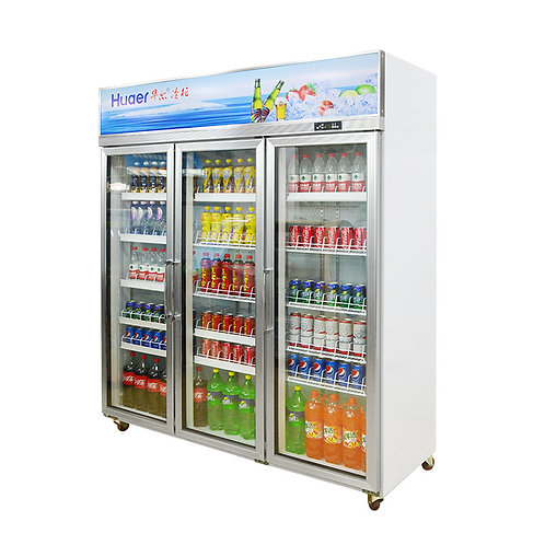 Three glass doors upright drinks fridge( 0℃ to 10℃ )