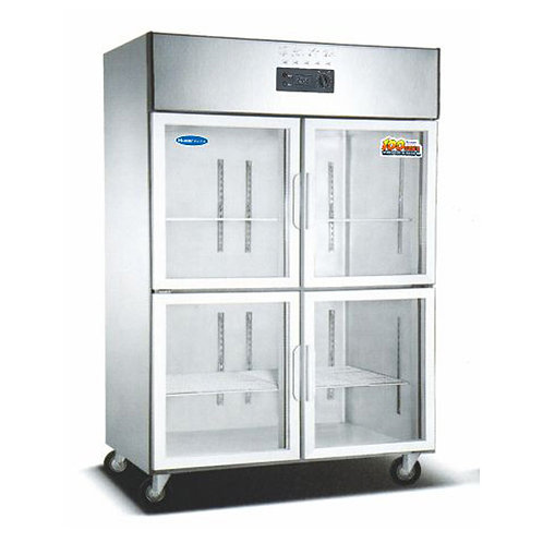 Transparent glass door kitchen fridge