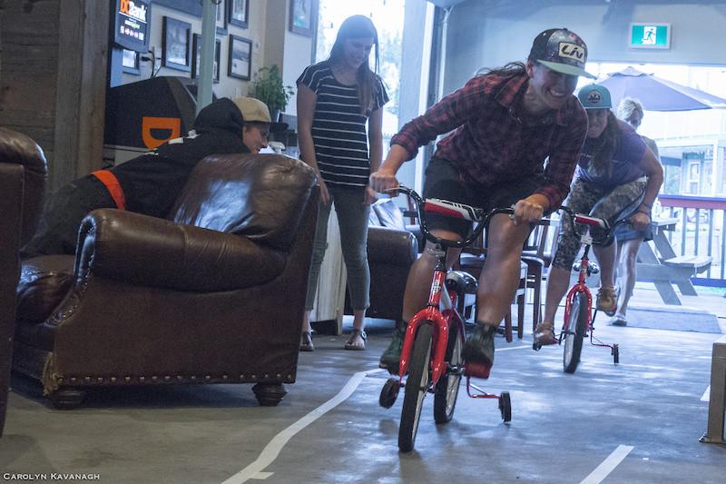 fun indoor mountain bike race on rental bikes. coaches