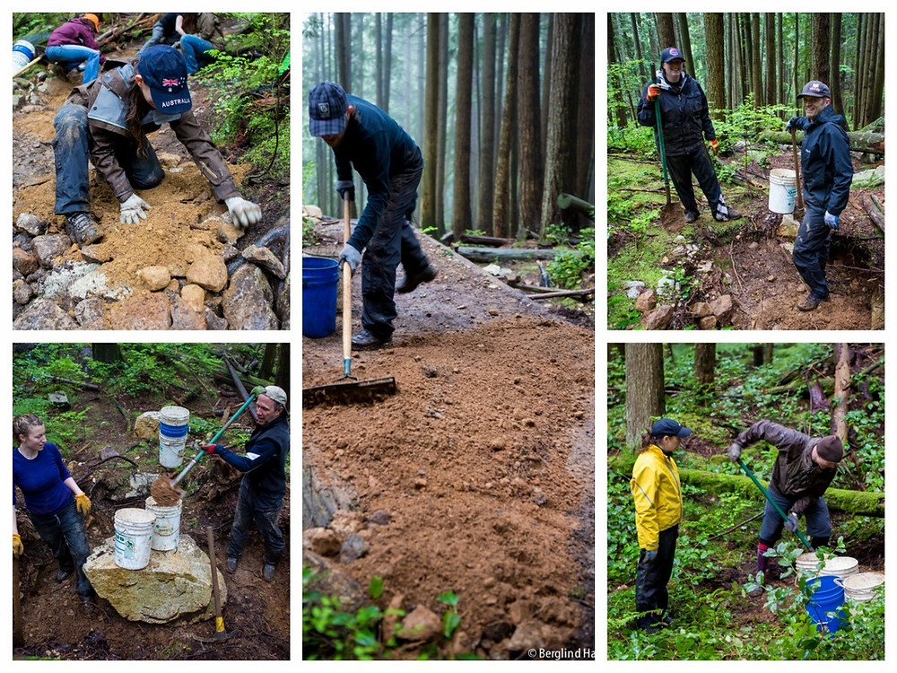North Shore Mountain Bike Association NSMBA TAP trail day on Dale's Trail Mt Seymour with Muddbunnies & Ryders Eyewear