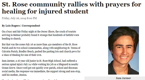St. Rose community rallies with prayers for healing for injured student