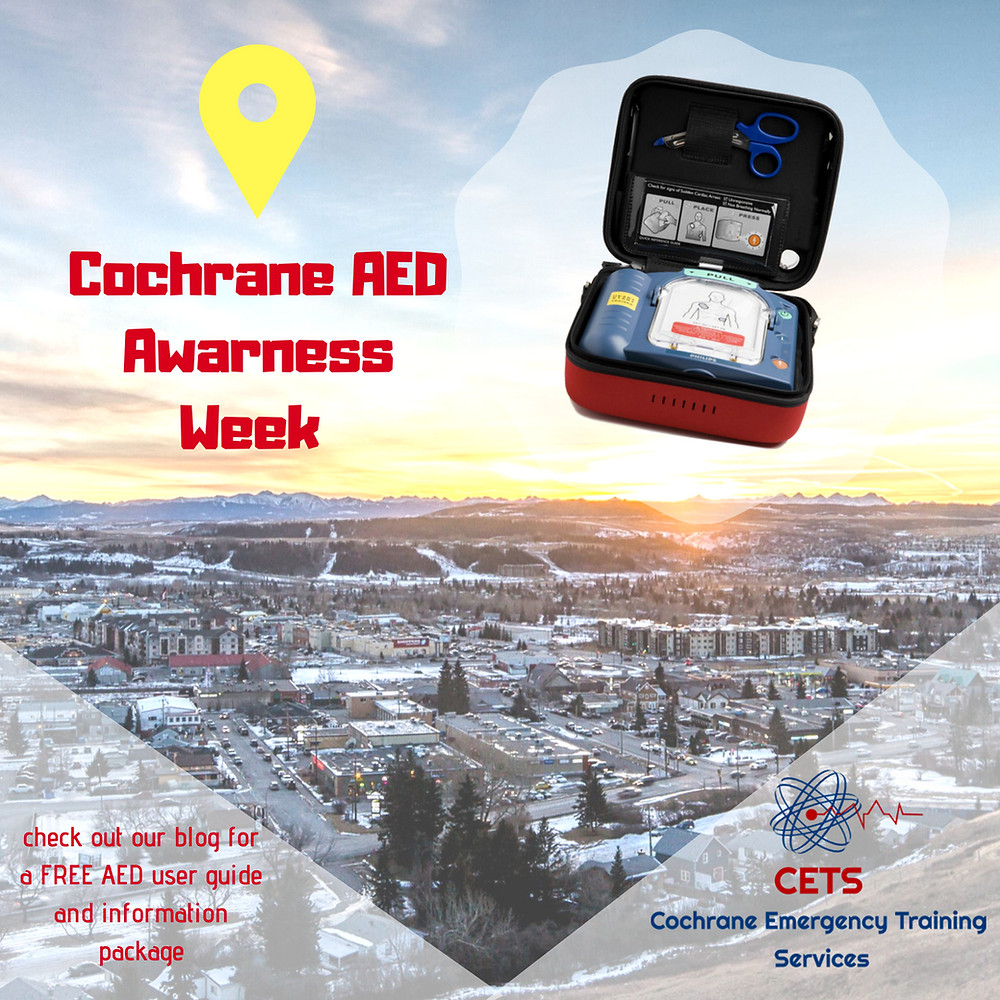 AED locations, Cochrane AED, Cochrane CPR, Cochrane First Aid, AED, CPR, Standard First Aid