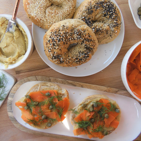 Easy Carrot Lox Bagels with Cashew Cream Cheese