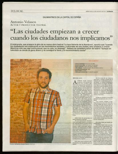 Entrevista en La Gaceta de Salamanca
