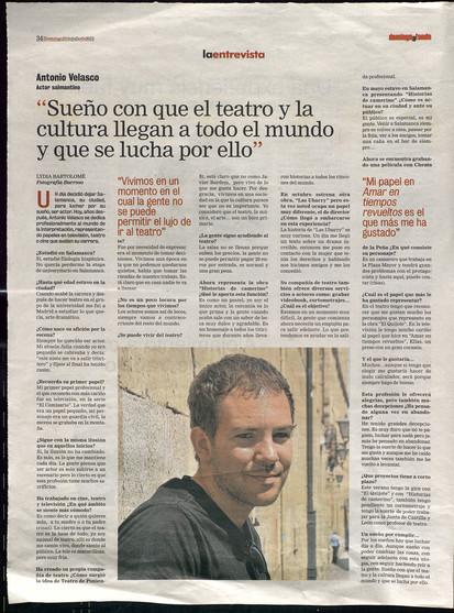 Entrevista al actor Antonio Velasco en LA GACETA DE SALAMANCA