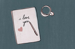 I love you notepad with coffee