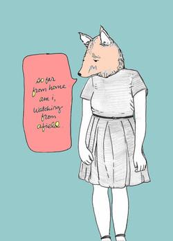 So Far From Home, Poem, Pencil, Mixed Media