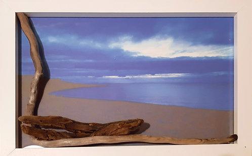 Milovaig sea view framed by drift wood