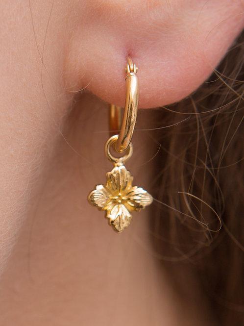 Hydrangea Charm Hoop Earrings - Single