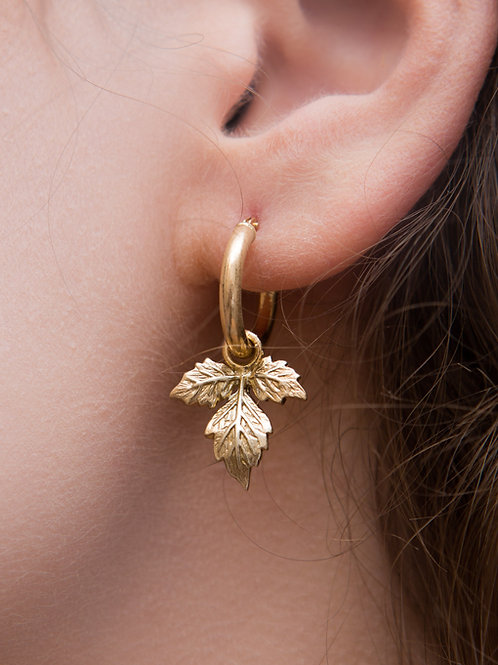 Ivy Charm Hoop Earrings - Single