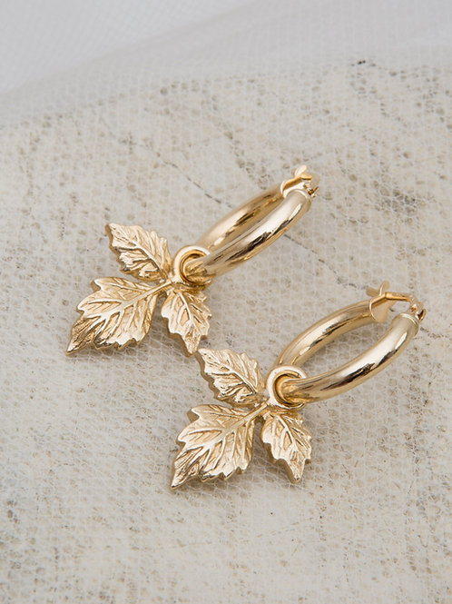 Ivy Charm Hoop Earrings - Pair