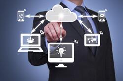 Pushing cloud computing button on touch screen