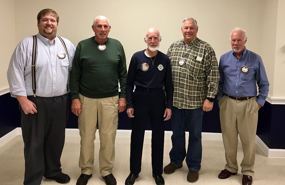 Pictured from left to right Pres. George Barnhill, Richard Glassen, Frenchi Blanchard, Treasurer Randy Pifer, Vice Pres. Bill Foster