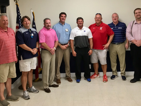 Athletic Director and Football Coaches speak at the Brunswick Exchange Club