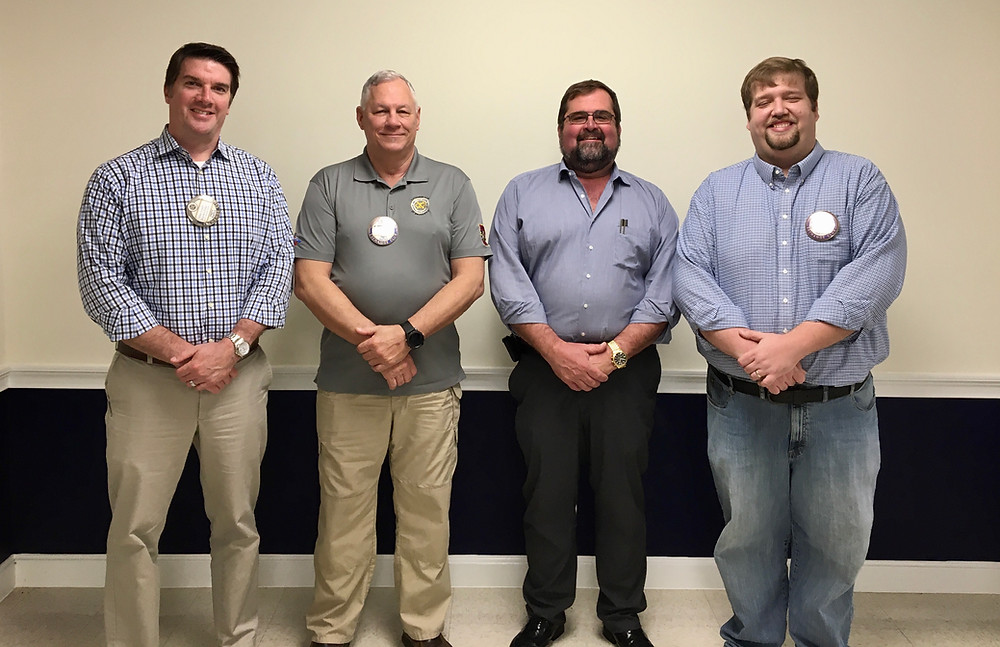 Pictured from left to right Pres. Elect Mike Lynch, Treasurer Randy Pifer, J.R. Stambaugh and Pres. George Barnhill