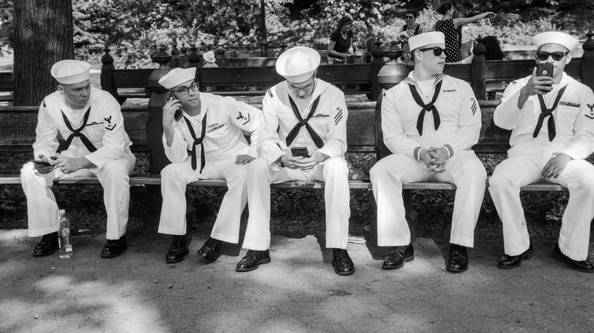 NAVY MEN , CHILLING ON PARK BENCH