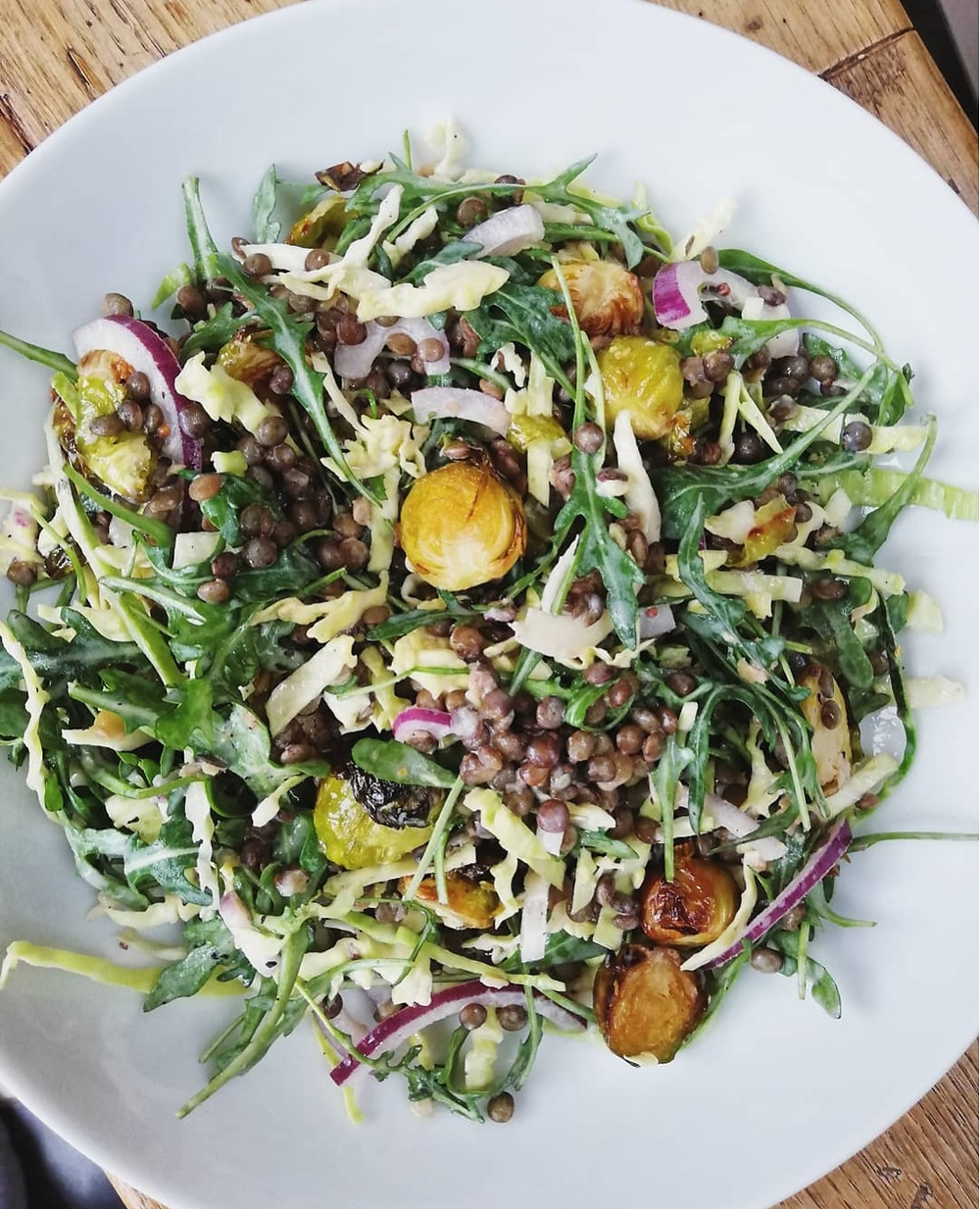 Roasted Sprout Salad with Puy Lentils, Cabbage & Creamy Yoghurt Dressing
