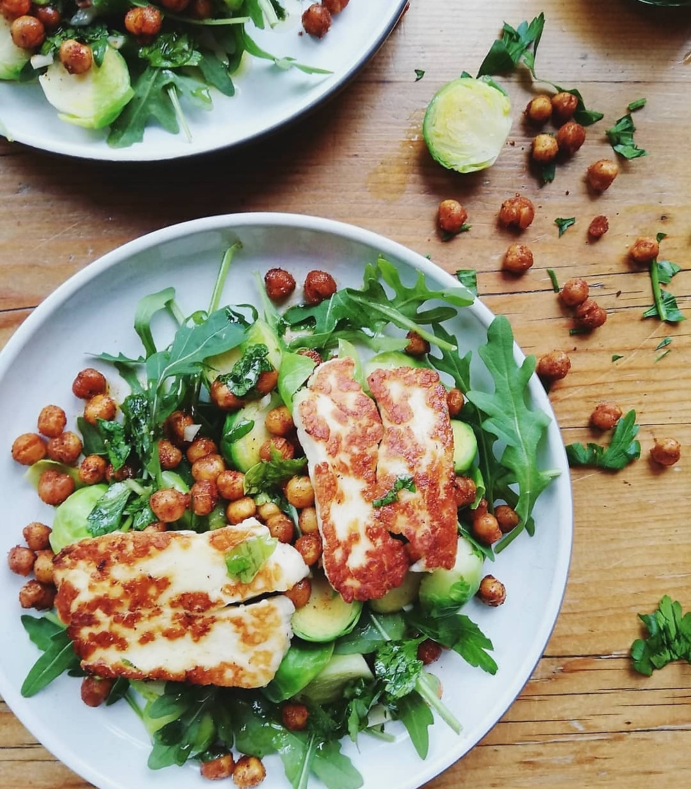 Warm Sprout Salad with Crispy Chickpeas & Halloumi