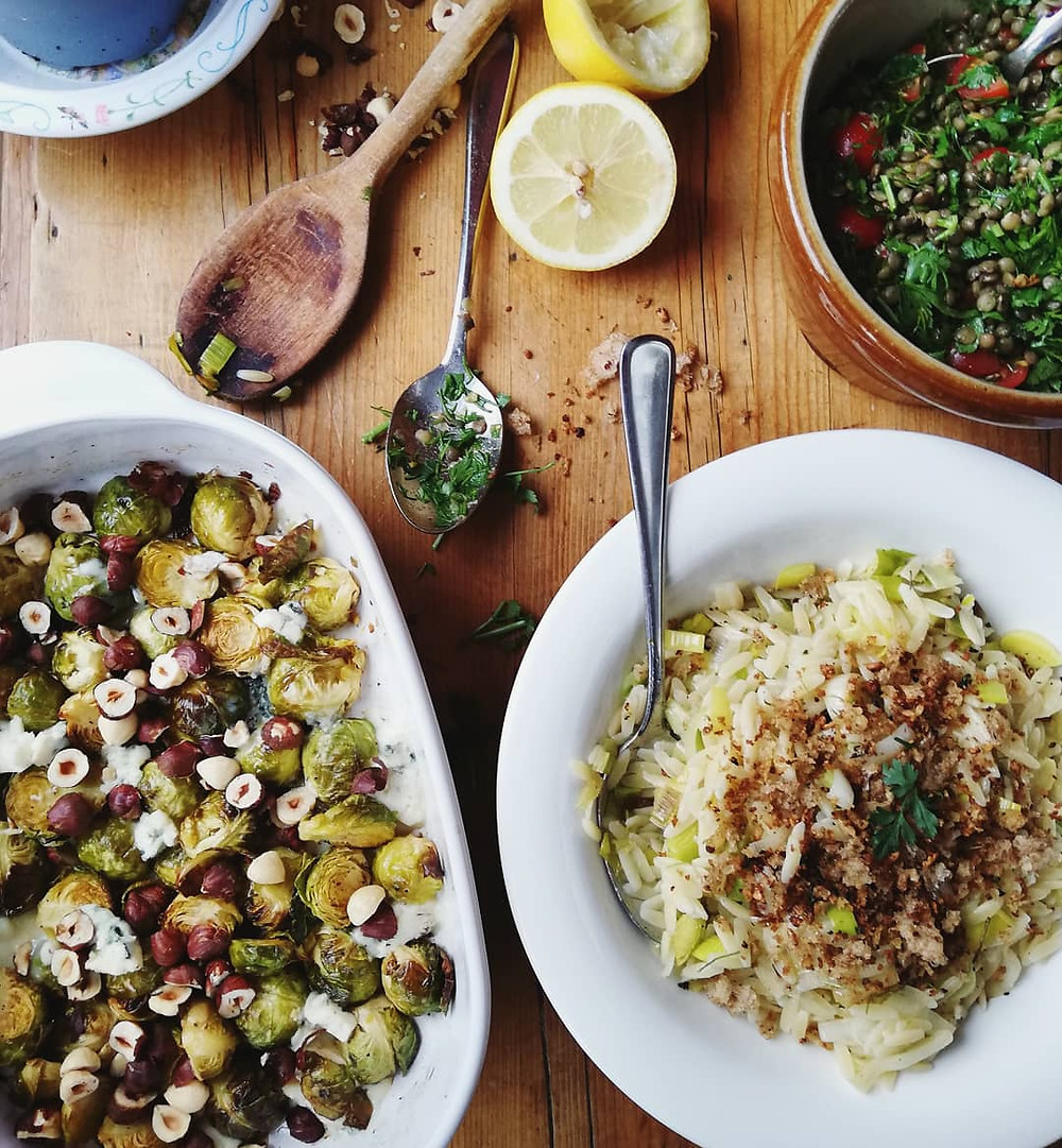 Caramelised Sprouts with Dolcelatte and Hazelnuts