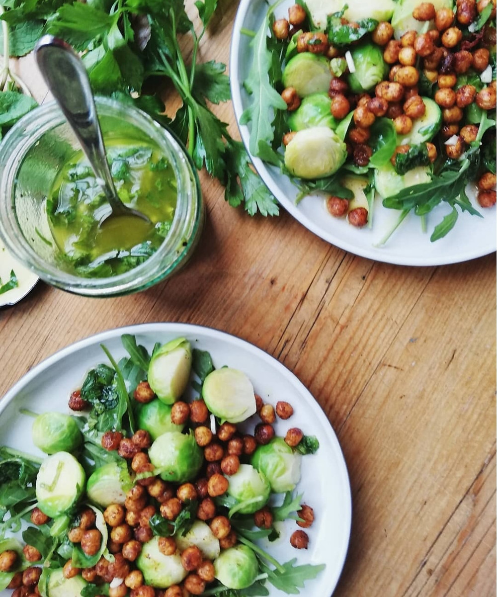 Warm Sprout Salad with Crispy Chickpeas & Herby Dressing