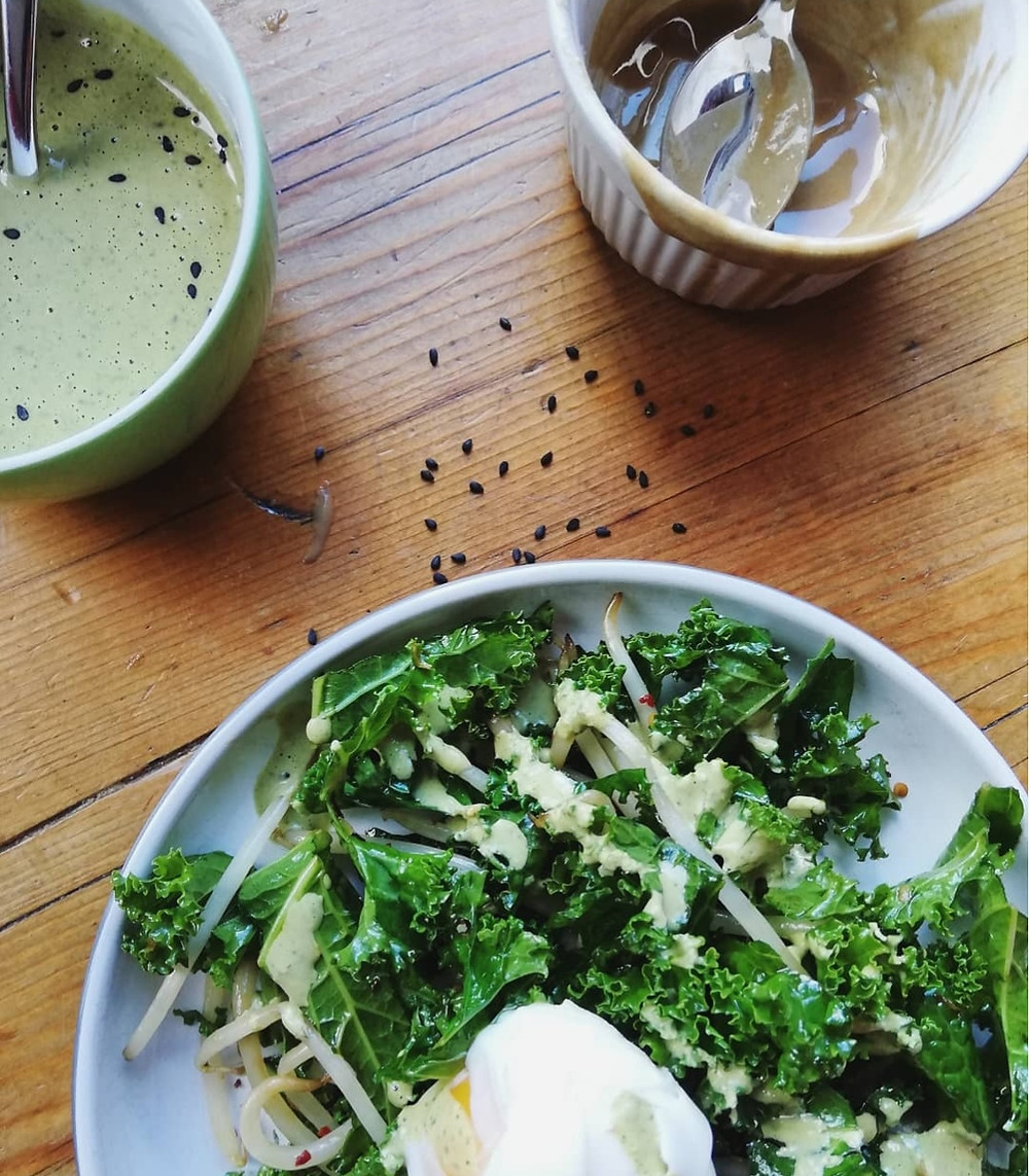 Stir Fried Kale with Tahini and Coriander Dressing