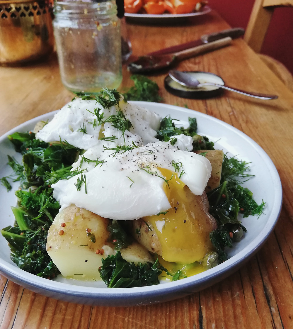 Warm Potato & Kale Salad with Capers, Dill, Garlic Oil & Mustard