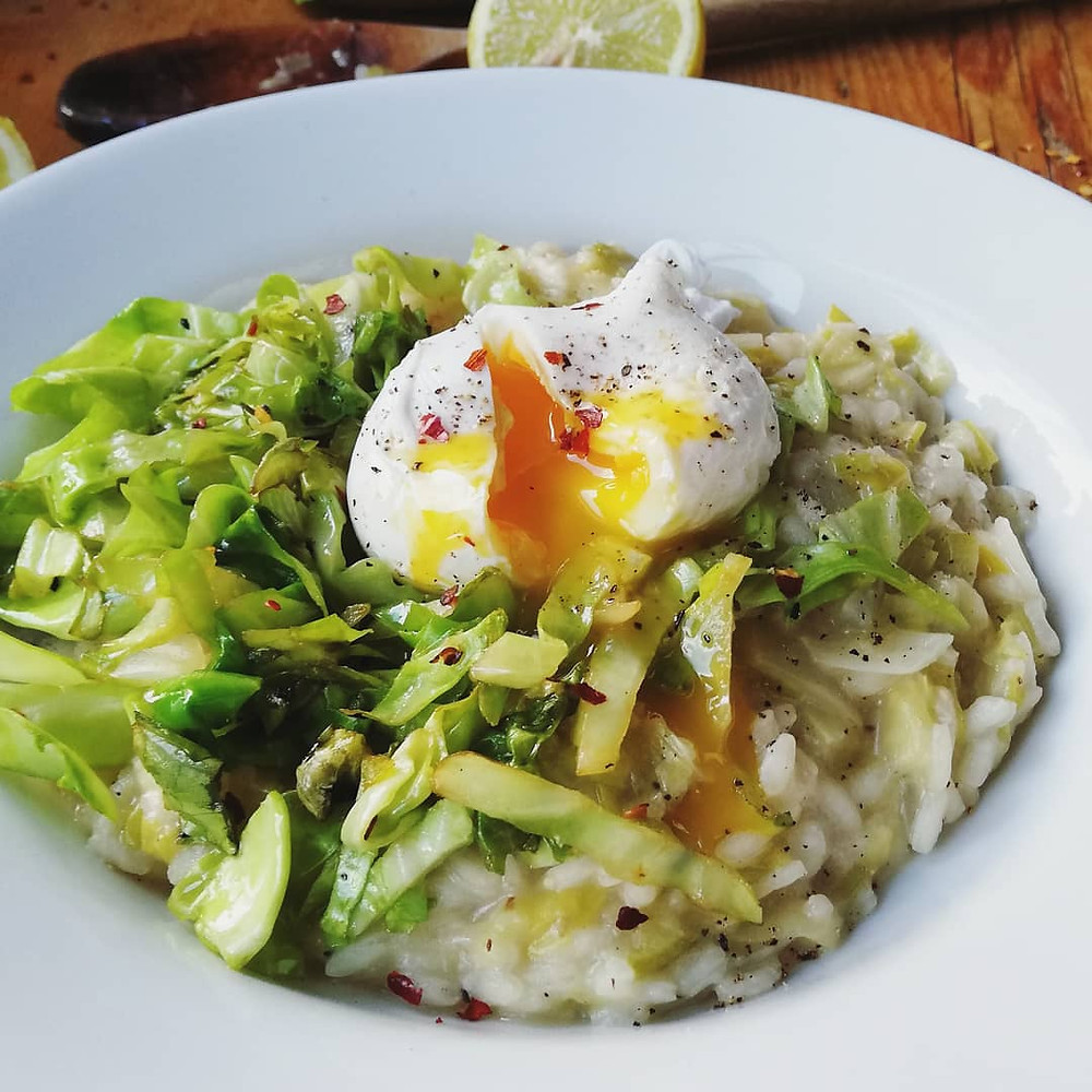 Risotto with poached egg, sauteed greens and lemon zest