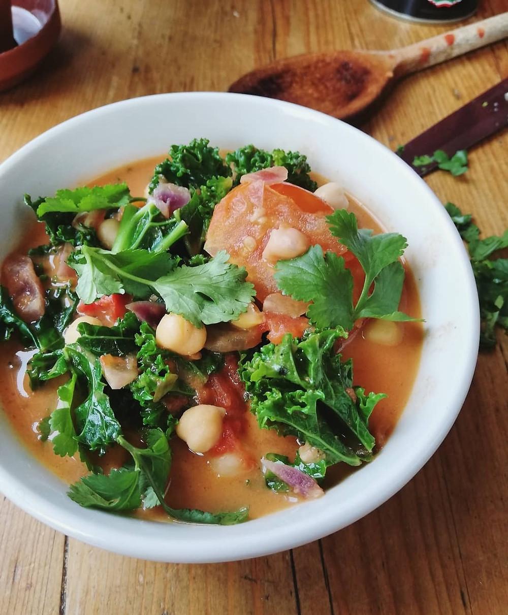 Chickpea, Kale & Coconut Spiced Soup