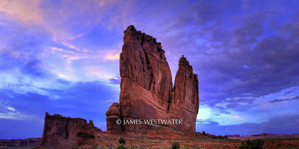 Dusk, Courthouse Rock, Arches National Park, Utah
