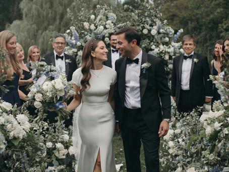 Ashley +Jon's Classic White & Blue Garden Wedding