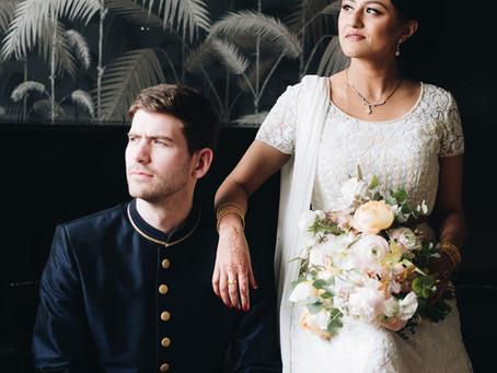 Rana + John's Soft Pastel Wedding at 501 Union With Lush Greenery Install