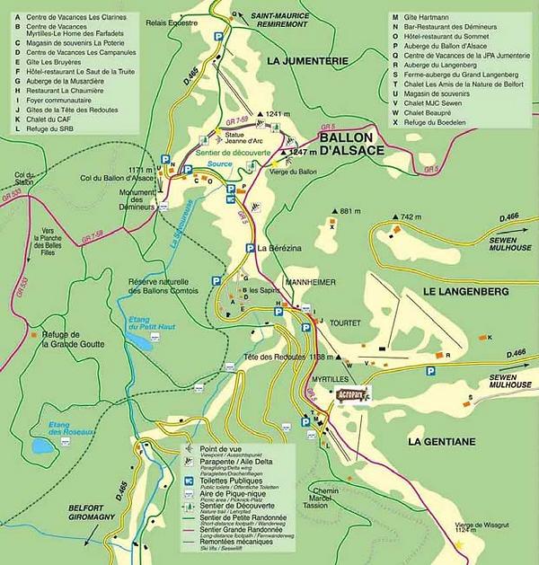 Plan du Ballon d'Alsace Chalet gite Vosges Ballon d'alsace hébergement collectif 16 personnes